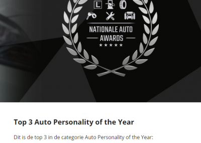 Auto Personality of the Year 2020 eindstand Joeri van Dam